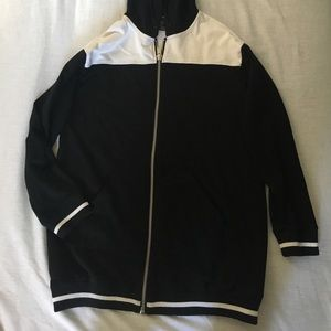 F21 varsity style long hoodie in size S
