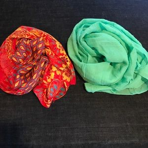 Accessories - Red Peacock Chiffon & Mint Cotton Scarves