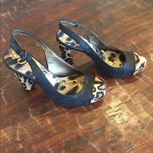 Sam Edelman leopard black shimmer heels pumps fur