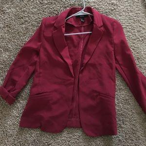 Dark red open blazer