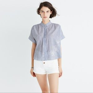 Madewell embroidered courier button down