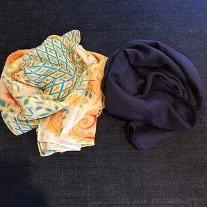 Accessories - Yellow Peacock Chiffon & Navy Cotton Scarves