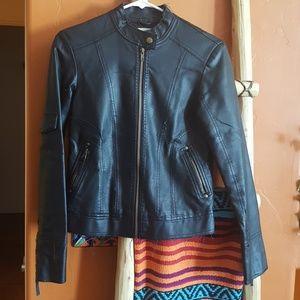 Silence + Noise vegan leather moto jacket