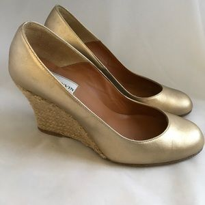 Lanvin gold wedge heels size 5 leather espadrilles