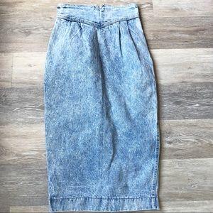 Vintage Zena Denim Midi Pencil Skirt