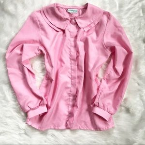Vintage Pink Double Collar Button-up Shirt