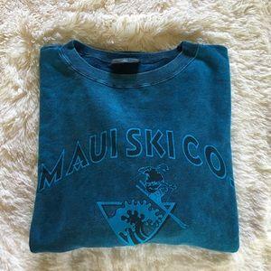 """yesterdays • """"maui ski co."""" turquoise sweatshirt"""
