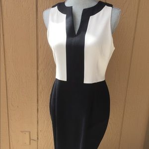Black and white color block sleeveless dress