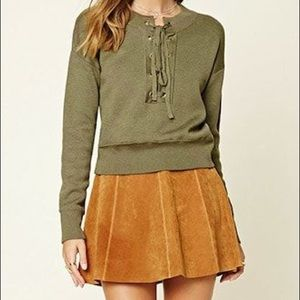 NWOT Long Sleeve Lace Up Olive Sweater
