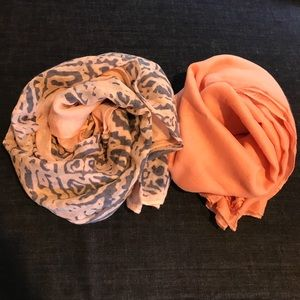 Accessories - Peach Patterned & Solid Peach Cotton Scarves