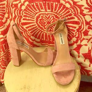 Pink Steve Madden ankle strap wedge heels