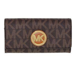 Michael Kors Fulton Brown LogoGold Carryall Wallet