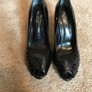 ALDO patent leather peep toe heels