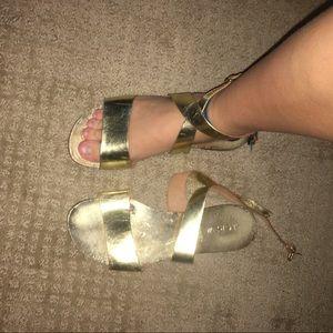 Gold JCREW wrap-up sandals!