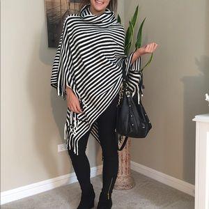 Poncho - Striped & Fringed