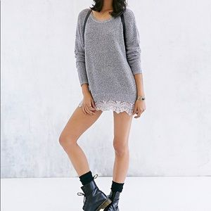UO Pins + Needles Grey + Lace Trim Sweater