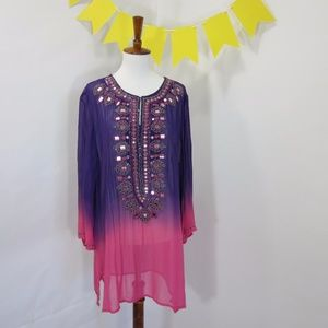 Chico's Beaded Embellished Ombre Sheer Long Sleeve