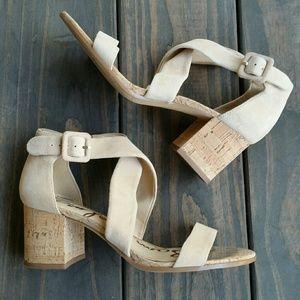 Sam Edelman Nude Suede Block Heel Sandal 7.5