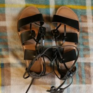 Old Navy Black Gladiator Tie Up Sandals