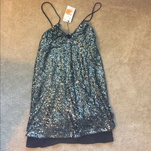 Sequined strappy mini dress