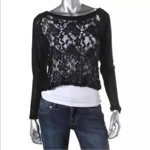 Material Girl Black Lace Crop Casual Top L