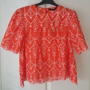 NWT Zara embroidered peasant blouse