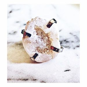White Druzy Quartz Ring