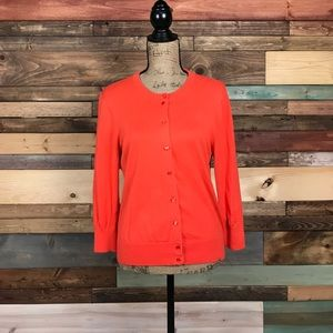 J Crew Orange Cardigan Sweater Large