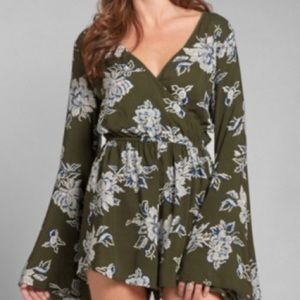 Abercrombie & Fitch Floral Olive Romper