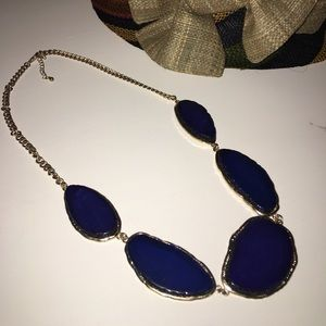 "Blue ""Agate"" Stone Gold Chain Statement Necklace"