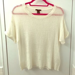 Beige Crew Neck H&M Sweater Short Sleeved