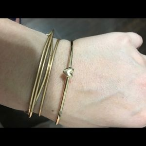 Gold Bangle with little heart (good karma bangle)