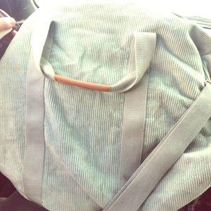 Large Mint Green Corduroy Duffle Bag