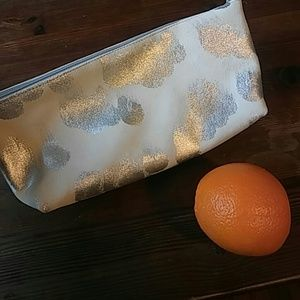 Real Leather Suede with Silver Smudge Makeup Bag