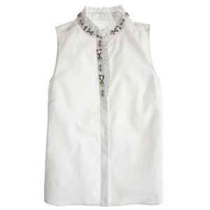 J. Crew • Embellished Collar Blouse