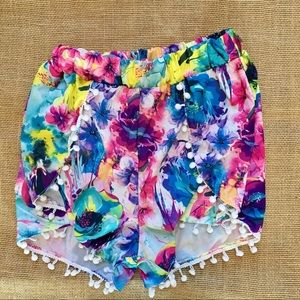 Floral Shorts with Pom Poms