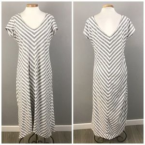 Emma & Michelle White & Gray Chevron Striped Maxi