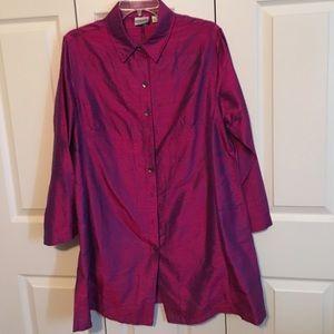 Lightweight silk extra long blouse/jacket