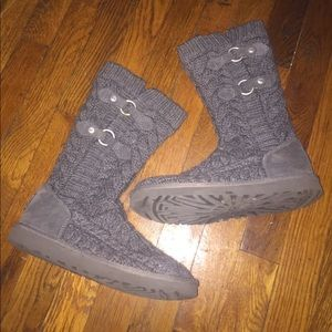 7df73ac3c71 Ugg tularosa route cable knit boots Sz 7 grey 3177