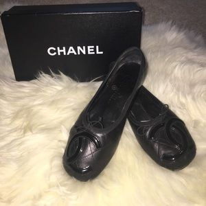 Chanel Black Quilted Cambon Ballet Flats