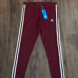 NEW Adidas Originals 3- stripe burgundy leggings