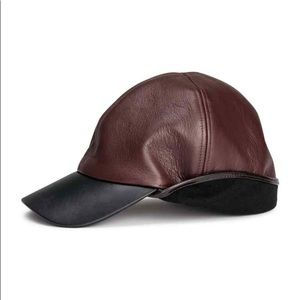 H&M Studio leather runway hat in burgundy RARE