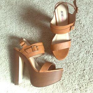 Cognac colored JUSTFAB sandals