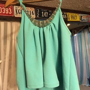 Teal Jeweled Crop Top from Rue21