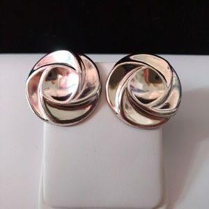 Vtg Avon Silver-tone Wavy Disc Earrings