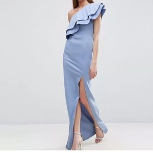 ASOS Tall Double Ruffle One Shoulder Maxi Dress 8