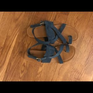 Franco Sarto Blue Suede Sandals