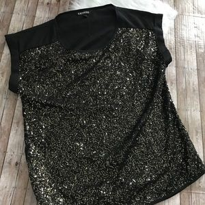 Express Black Gold Sequin Top Blouse