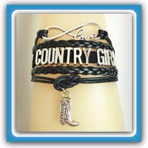 Black Country Girl Leather Bracelet