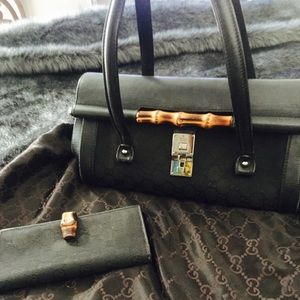 Gucci Bamboo Bullet Handbag with Matching Wallet